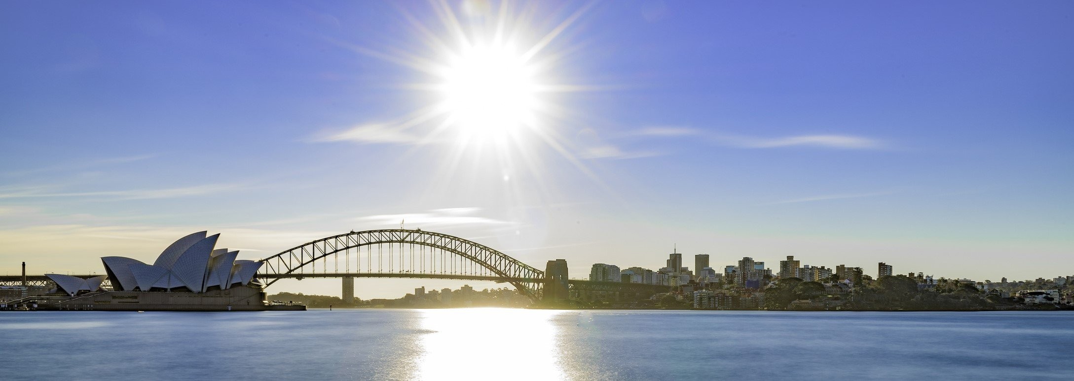 Photo of Sydney Harbour and Government owned public historic landmarks Sydney Opera House and Sydney Harbour Bridge.